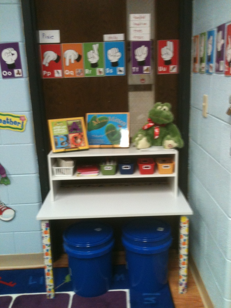 My Preschool Classroom needed a Writing Center but we had limited space...Lowe's bucket seats and shoe rack helped make this the perfect little space in our Library Area.