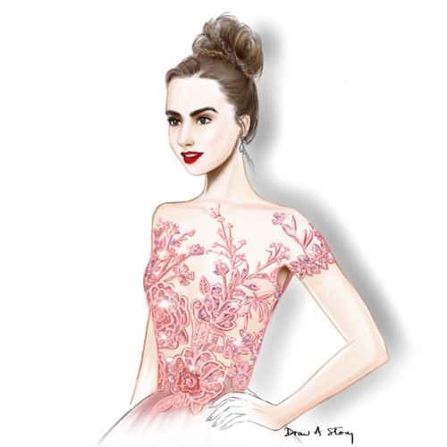 Lily Collins in Zuhair Murad at the Golden Globes 2017; fashion illustration by Draw A Story.