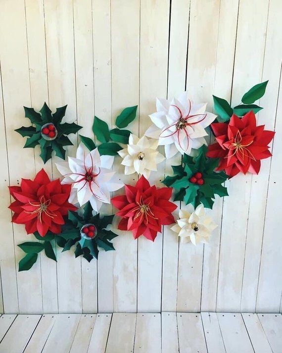 White Red Poinsettias And Green Hollies They Are Approximately