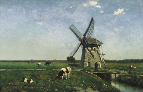 Landscape with windmill near Schiedam - Johan Hendrik Weissenbruch, 1873, Museum Boijmans Van Beuningen