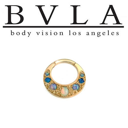 Check out Body Vision BVLA Boston Tiger 14kt Gold Septum Clicker White Opal Baby Blue Sky Blue Opal Accents 16g from DiabloBodyJewelry.com!