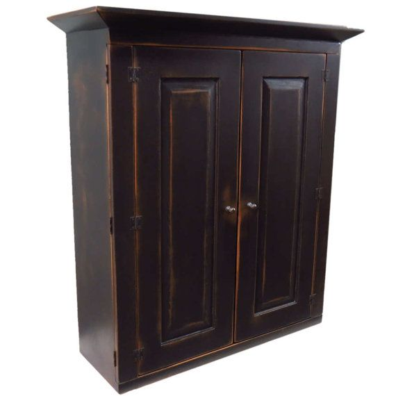 French Country Chic Small TV Cabinet Hutch - Black on Java Primitive Finish - Made to Order Country Cottage Furniture  $1242