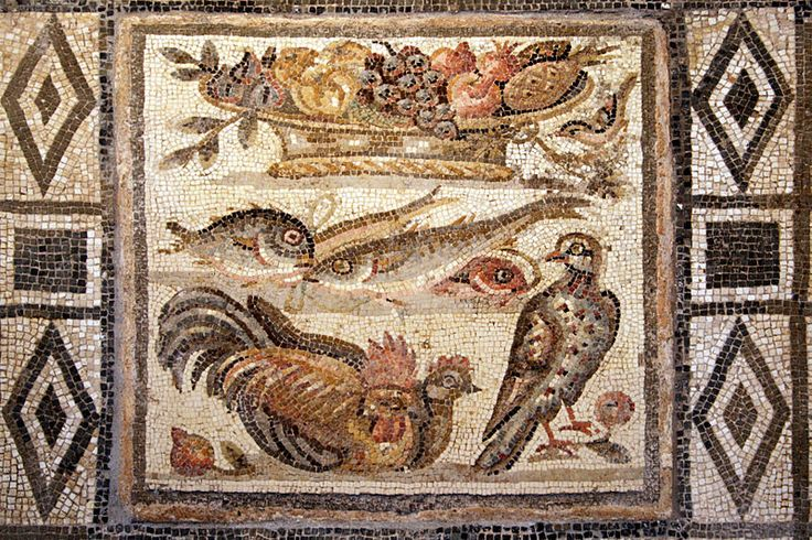 Floor mosaic depicting birds, fish and fruit basket. Opus vermiculatum, Roman artwork of the end of the Ist century AD/begin of the Ist century BC. National Museum of Rome.