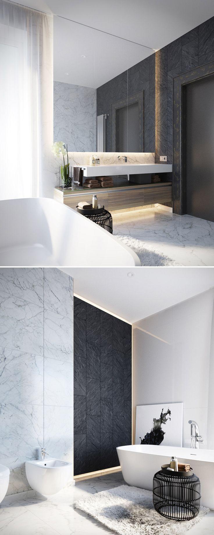 Badkamer: bad, verschillende kleuren en materialen (iets te wit/cool)