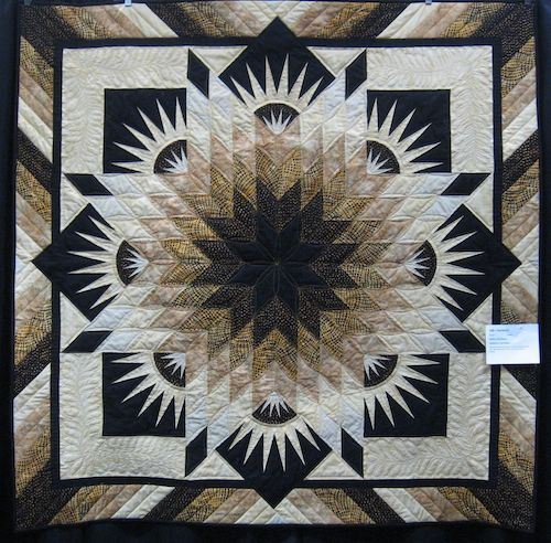 Beautiful. I am getting to be a fan of Brown, black, cream and white on quilts. Very stunning.
