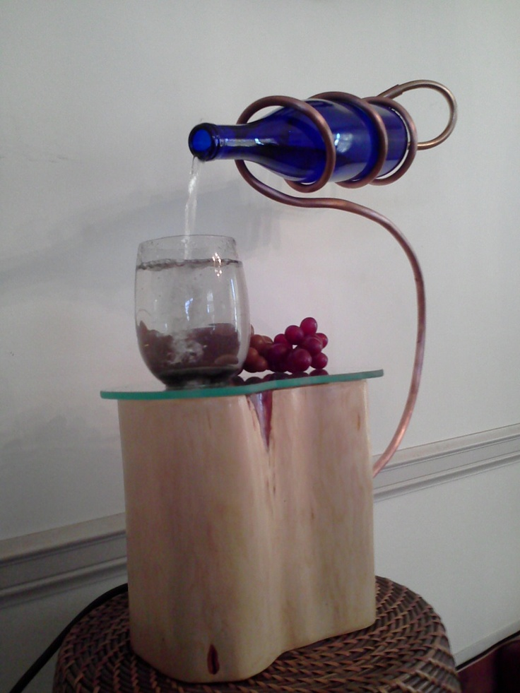 I LOVE this!!!  Recycled Wine Bottle Fountain glass of wine cedar wood copper glass endless FREE SHIPPING. $225.00, via Etsy.