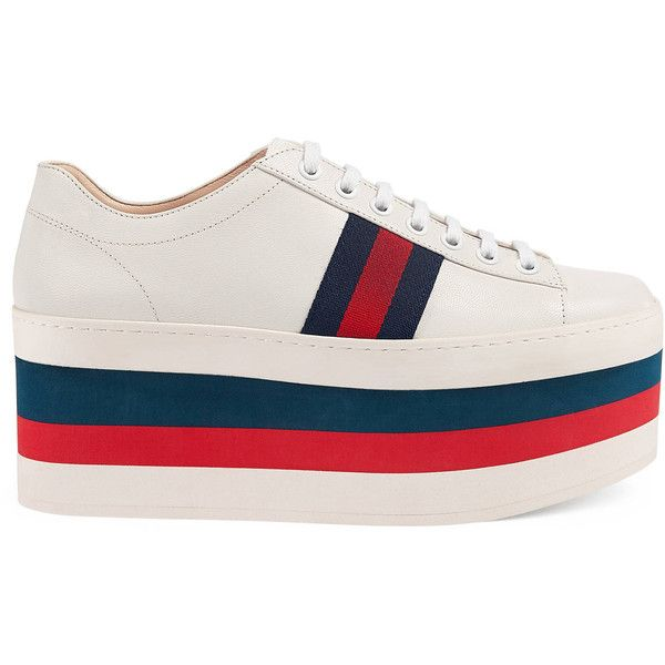 Gucci Leather Low-Top Platform Sneaker ($850) ❤ liked on Polyvore featuring shoes, sneakers, white, gucci, gucci shoes, leather platform shoes, leather trainers and low top