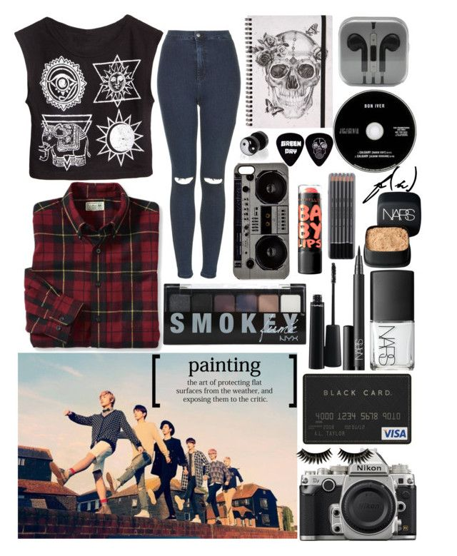 """Goth B.A.P"" by hungrylashton ❤ liked on Polyvore featuring Topshop, Wallace, Zero Gravity, MAC Cosmetics, NARS Cosmetics, Nikon, Boohoo, River Island, women's clothing and women's fashion"