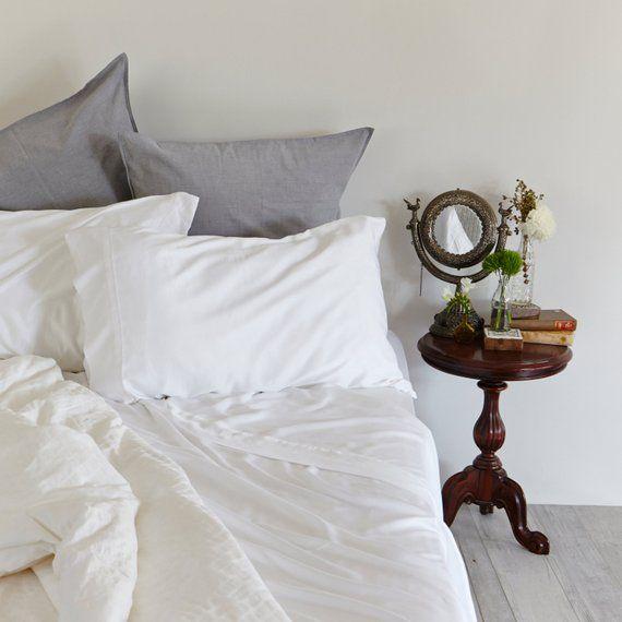 White Bamboo Sheets California King Size 100 Bamboo Etsy Linen Sheet Sets Bamboo Sheets Bed Sheet Sets