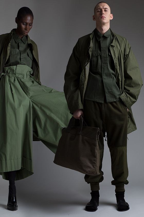 Vintage Junya Watanabe Comme des Garçons Trousers, Military Shirt and Parka. Vintage Military Parka, Men's Shirt and Sweatpants, Issey Miyake Bag. Designer Clothing Dark Minimal Street Style Fashion