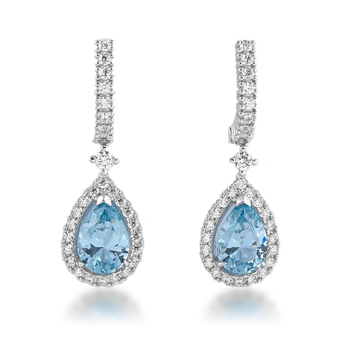 Blue wedding earrings. Pendientes para novia en tonos azules. We ship worldwide.