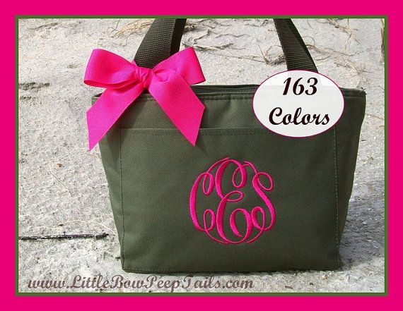 Monogrammed Lunchbox Cooler School Personalized Triple Initials Hot Pink Green Brown Blue Lime womens Bag Insulated teacher kids childrens. $17.95, via Etsy.