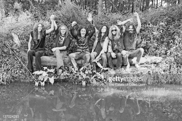 Lynyrd Skynyrd (l-r Allen Collins, Ronnie Van Zant, Billy Powell, Gary Rossington, Leon Wilkeson and Artimus Pyle) poses for a portrait in September 1974 in Parsippany, New Jersey.