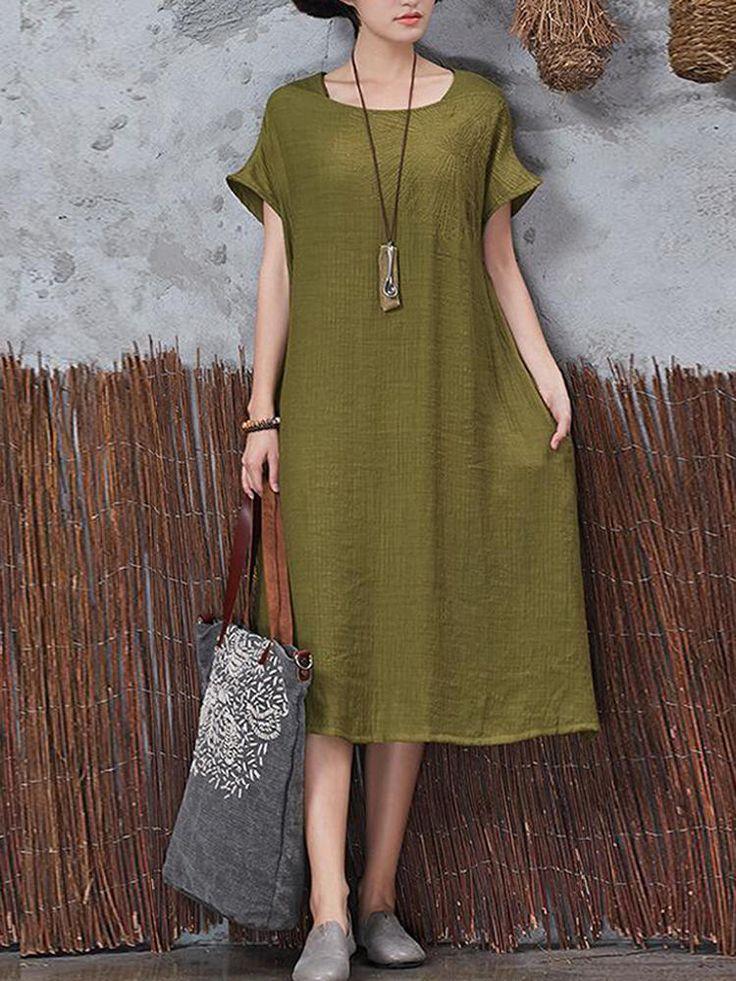 Casual Women Vintage Short Sleeve Pockets Dresses at Banggood