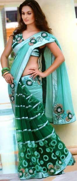 Sea Green and Green Bemberge Faux Georgette Saree With Blouse | $153.67