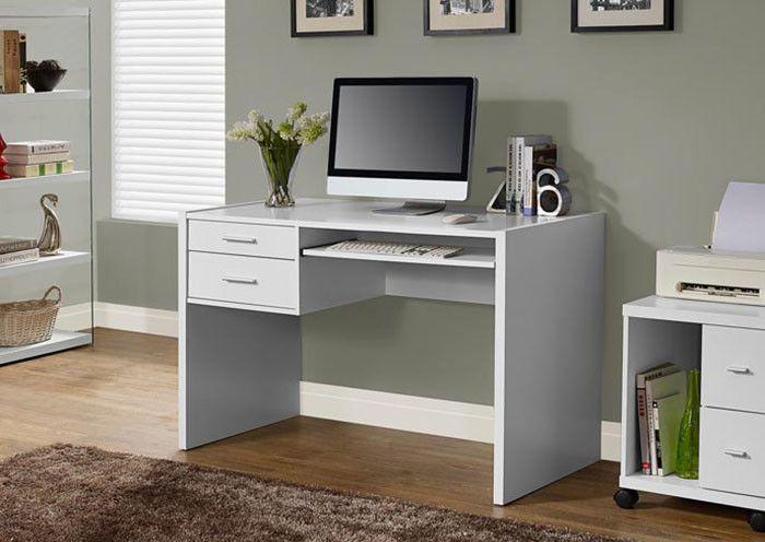 """White Hollow-Core 48""""L Computer Desk"""