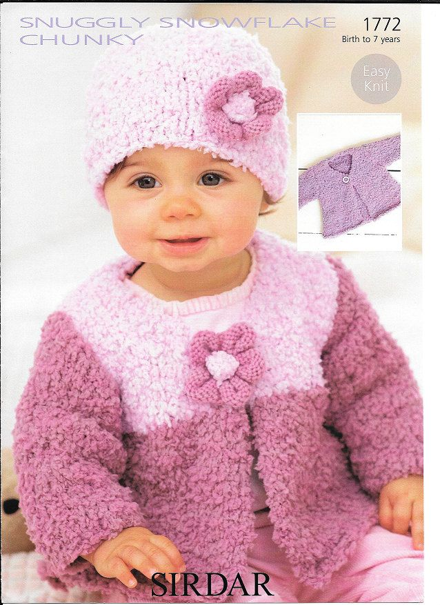 pdf Knitting Pattern Baby Child Cardigan and hat Sirdar Snuggly snowflake chunky 1772  0-7 yrs  new by Bobbinswool on Etsy
