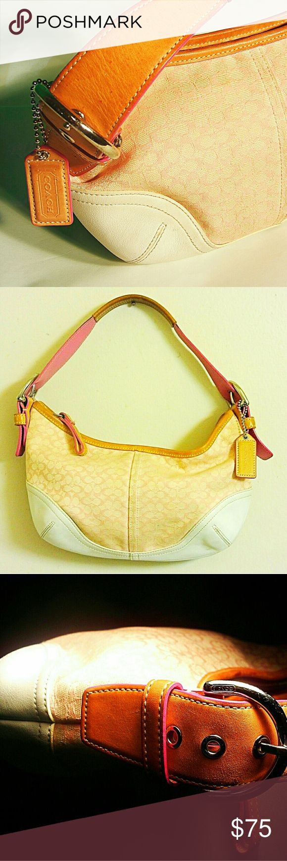 Coach Hobo bag in Tan/White/Pink Used but in great shape Coach Bags Hobos