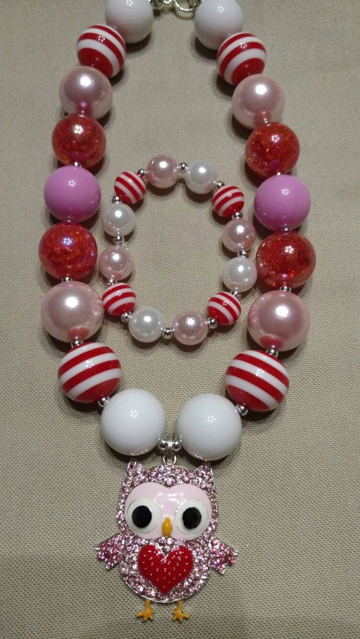 Owl Valentine's Bubble Gum necklace @ https://www.facebook.com/The-Beaded-Peacock-1449888561971101/