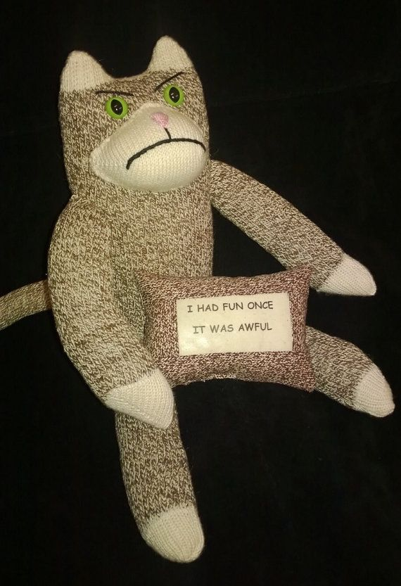 Grumpy Cat Sock Monkey With Quote Pillow By Sockmonkeyangel Funny Words Pinterest And Socks