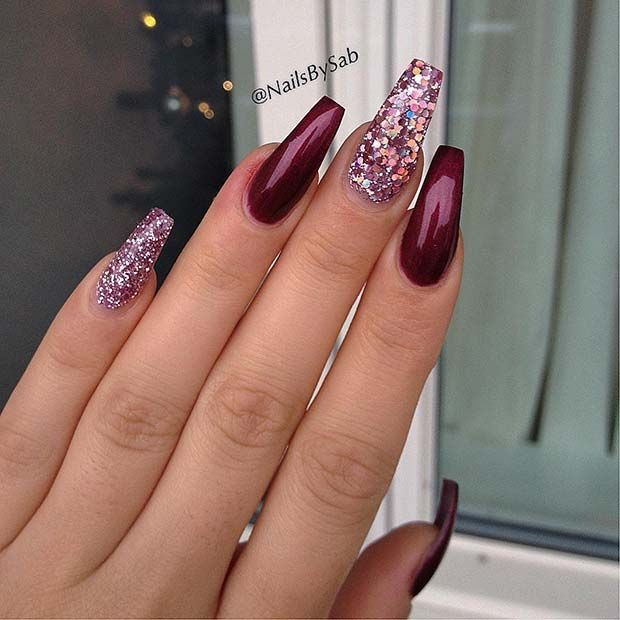 43 Beautiful Nail Art Designs For Coffin Nails Stayglam Fall Acrylic Nails Burgundy Nails Trendy Nails