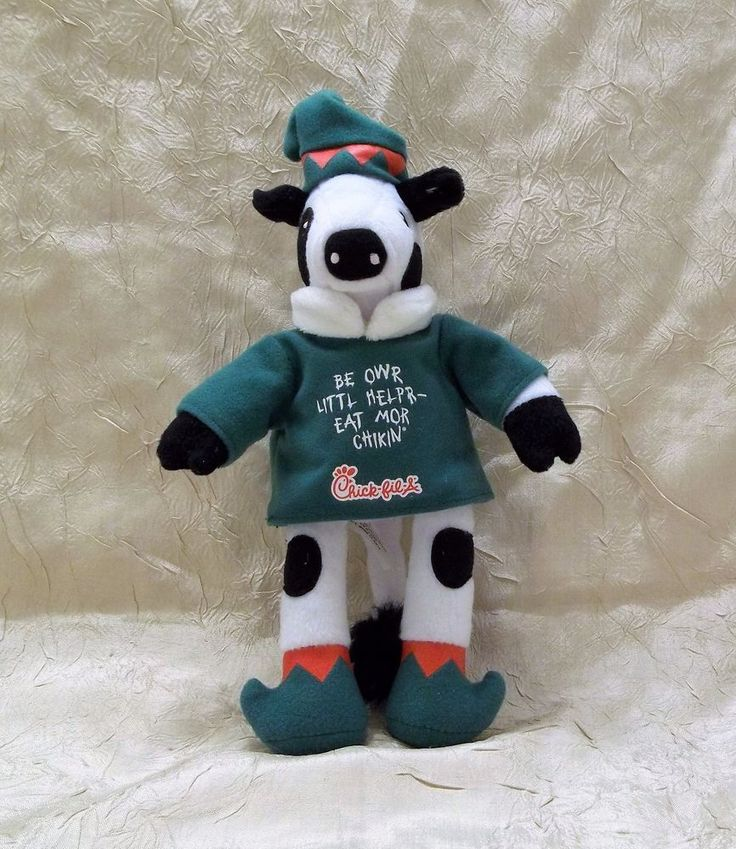 """Chick-fil-A Cow In Elf Costume 9"""" Plush Toy Be Owr Littl Helpr - Eat Mor Chikin"""