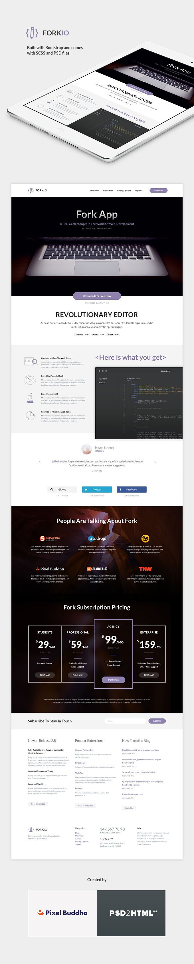 Forkio: One-Page HTML Template - download freebie by PixelBuddha