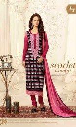 Multi Color Elegant & Amazing Unstitched Chanderi Fabric Straight Suit