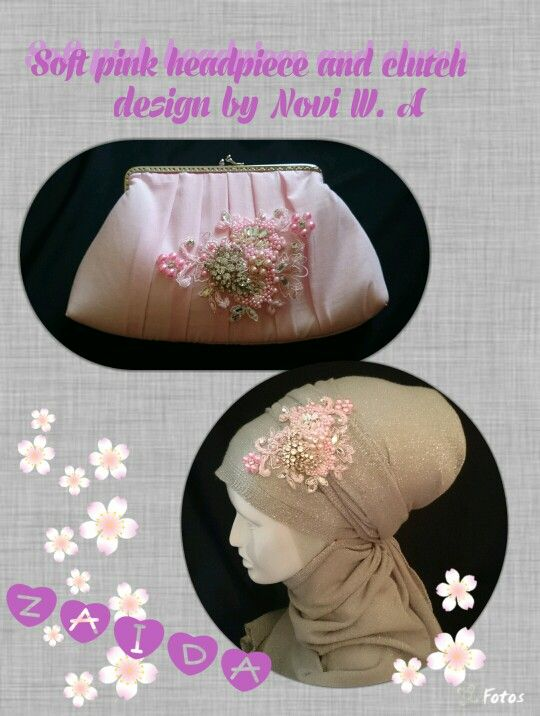 Soft pink clutch with corsage and soft pink headpiece are same design.
