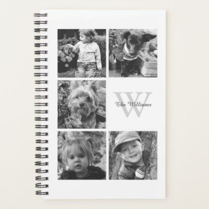White Photo Collage and Monogram Planner - monogram gifts unique design style monogrammed diy cyo customize