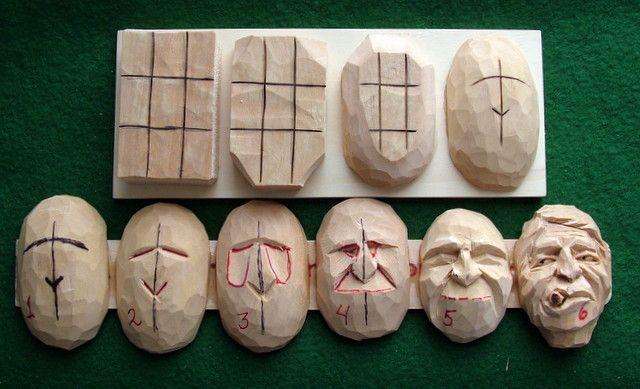 Gesichtsstudie Obwohl dies aus Holz geschnitzt ist, würde es auch als Keramik