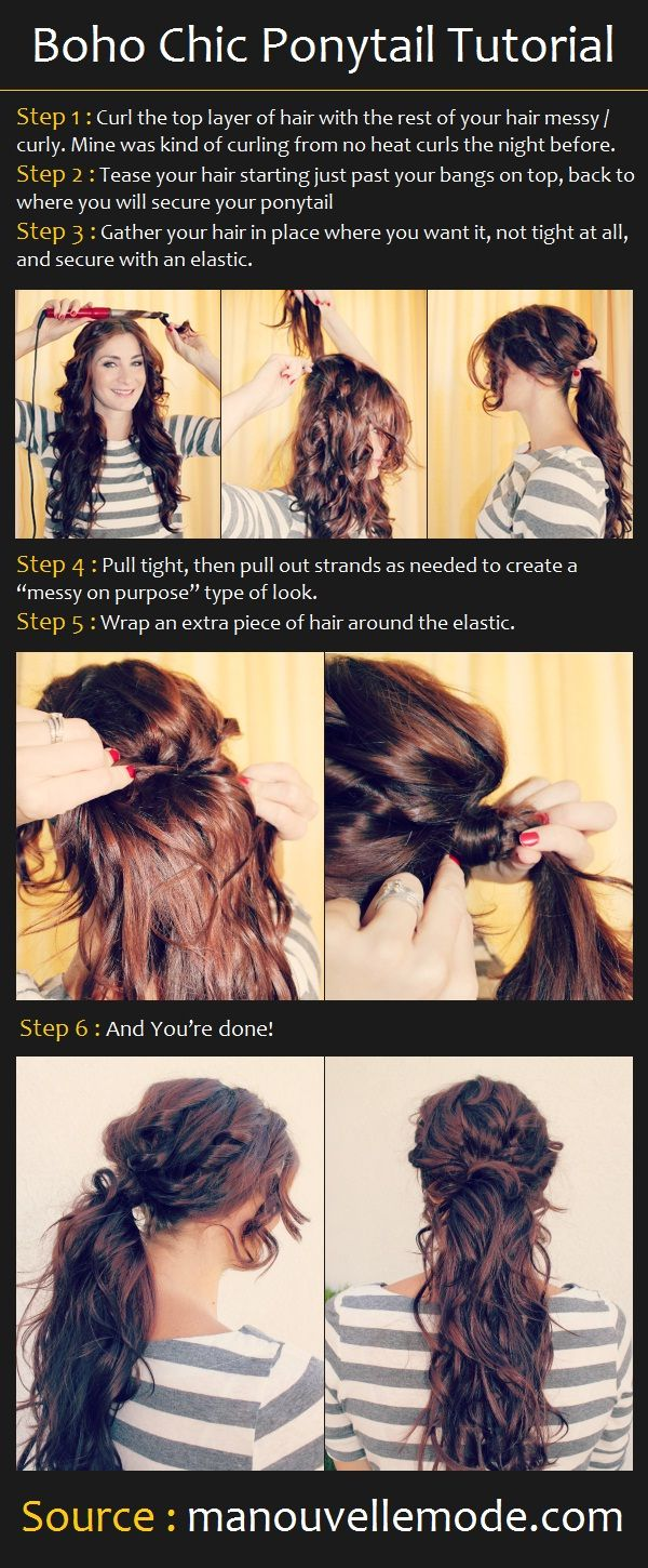 Boho Chic Ponytail Tutorial  Im going to do this when my hair gets long, which should be in about 3yrs!