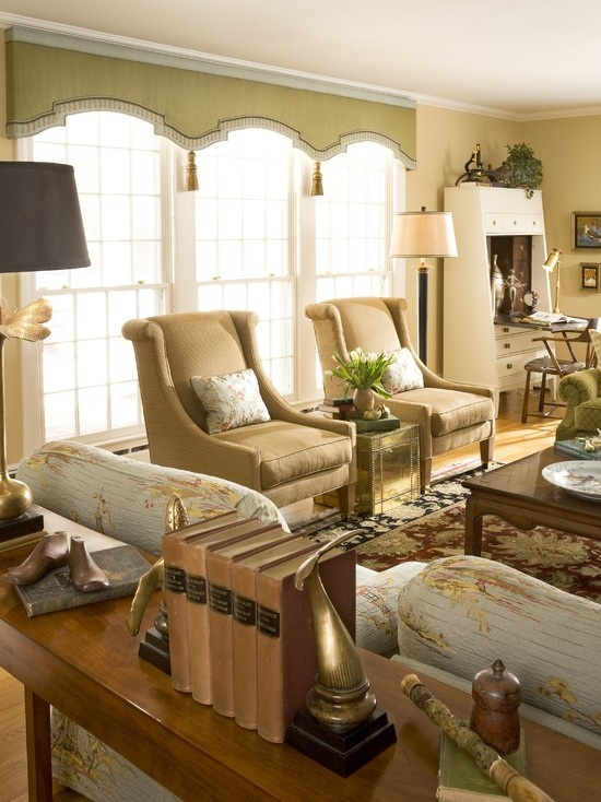 Treat a wall of windows as one with a great shaped valance