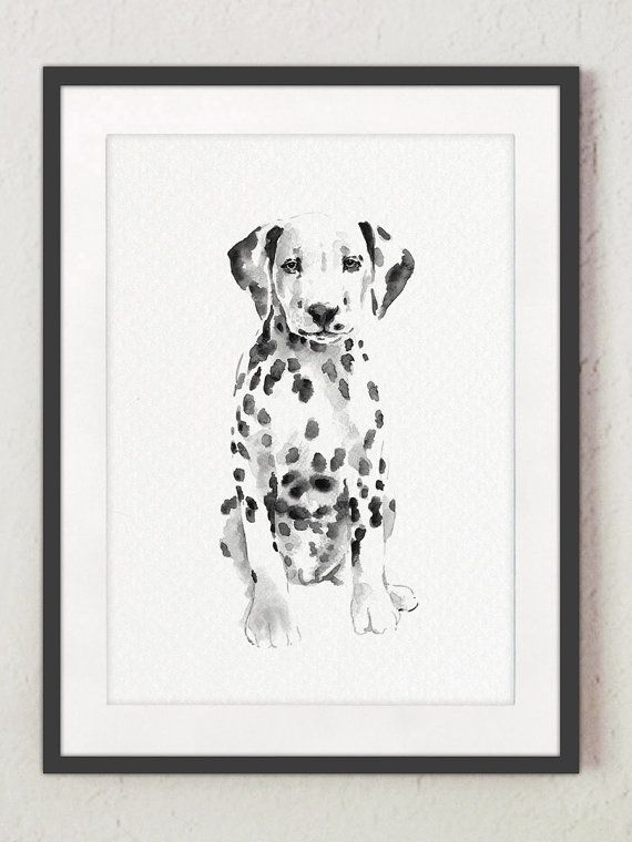 Dalmatian Dog Watercolor Painting White Black Spotted