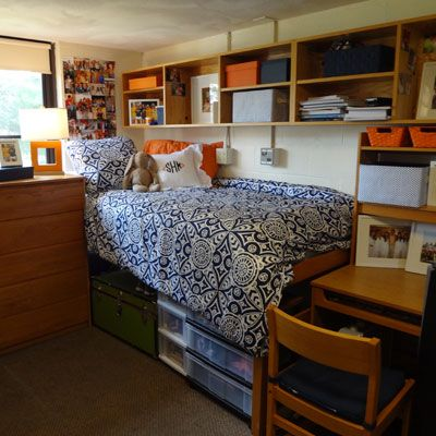 Love the blue and orange together! Get Preppy College Dorm Room Ideas like this on Uscoop.com!