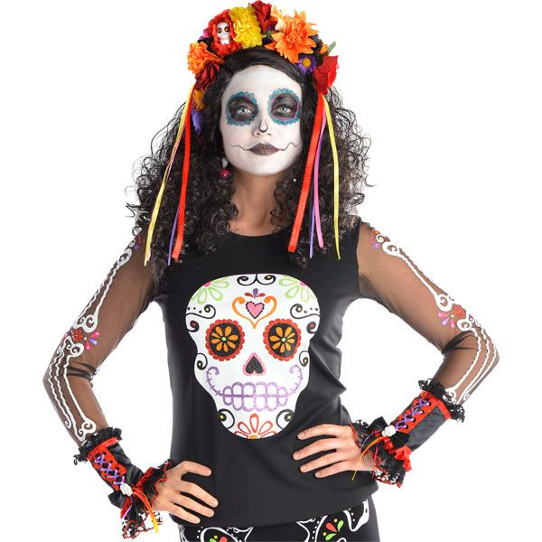 Dress up as Day of the Dead this Halloween with this colourful top from Party Delights