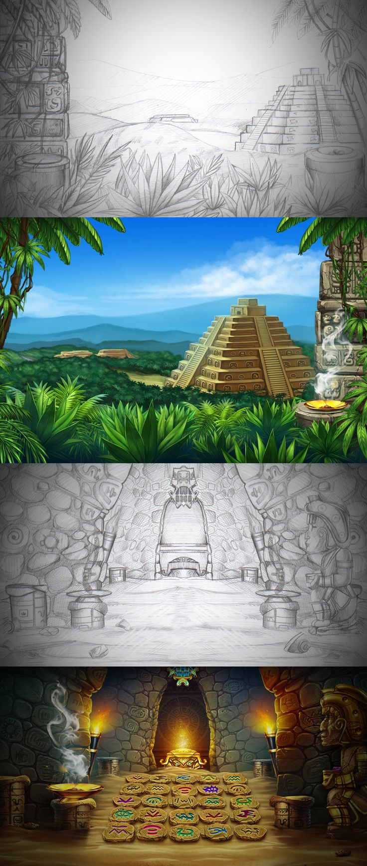 """Graphic design of backgrounds for the game slot-machine """"Ikitan's quest"""" http://slotopaint.com/"""
