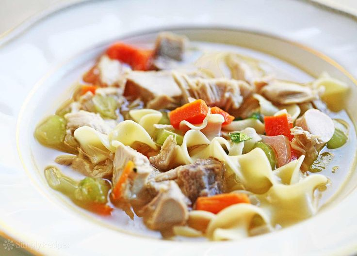 Classic turkey soup recipe! Take what's left of the turkey carcass and make a delicious turkey soup with the leftover turkey to enjoy for days.
