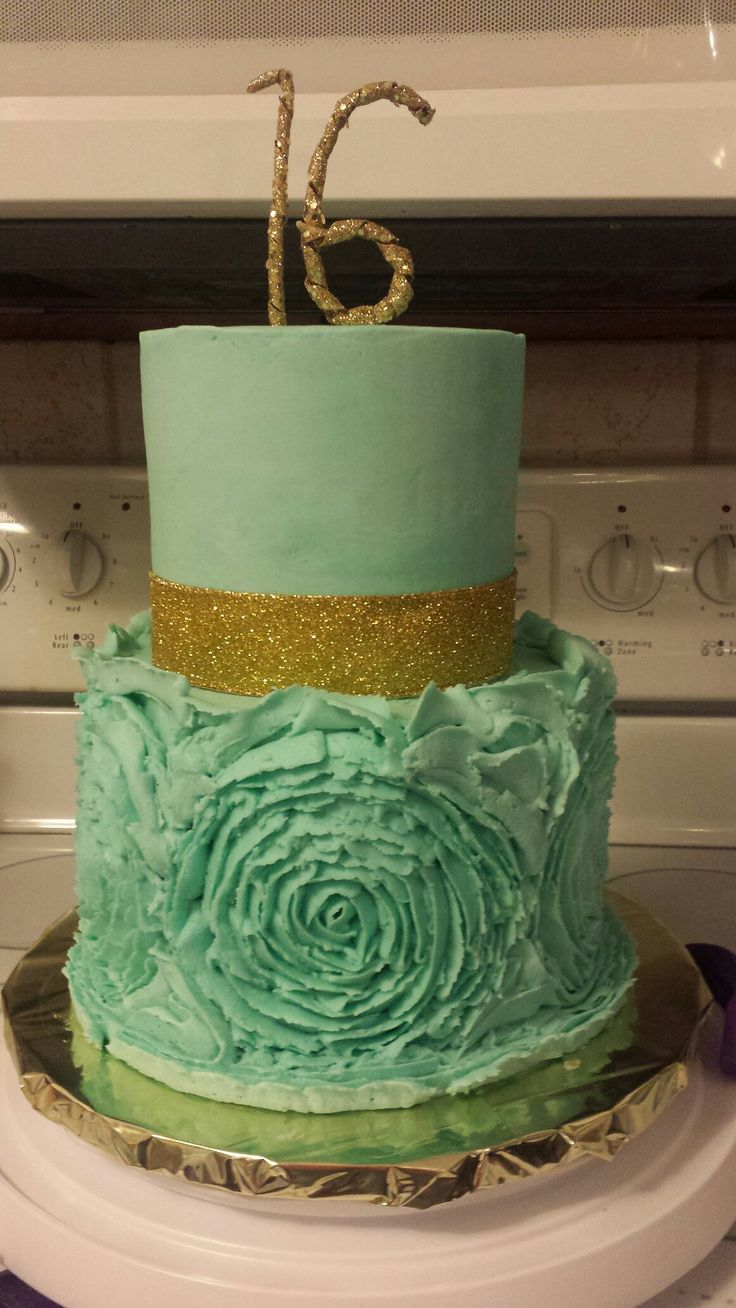 Sweet 16 Birthday Cake,  gold and teal 2 tier cake