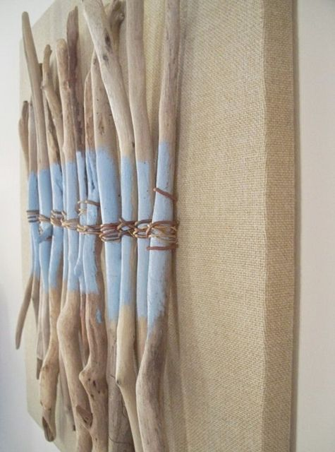 Driftwood Burlap Root Painting on Found Frame by Amy Gieschen by interior life