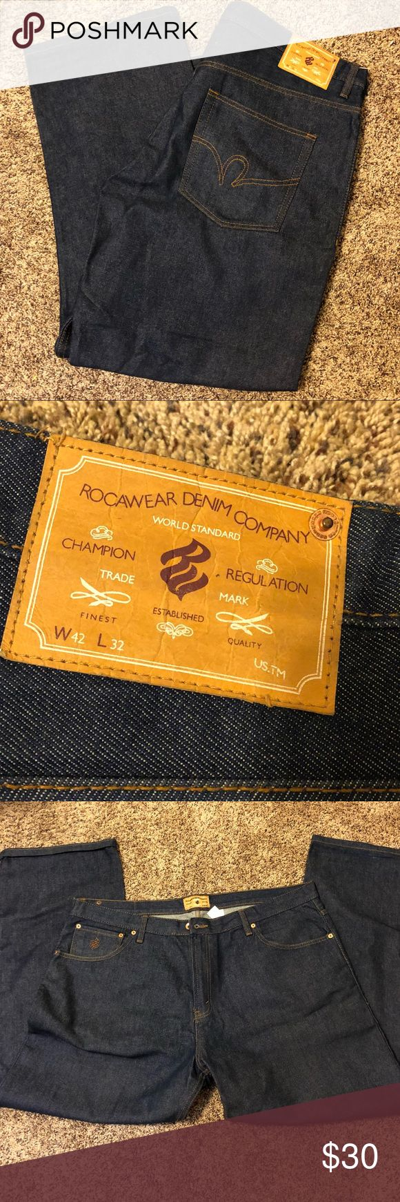 Men's Rocawear Jeans size 42wx32L Brand new condition!  Great men's jeans by Rocawear are size 42x32.  My husband just never wore them.  Thanks for looking and bundle to save more😃 Rocawear Jeans