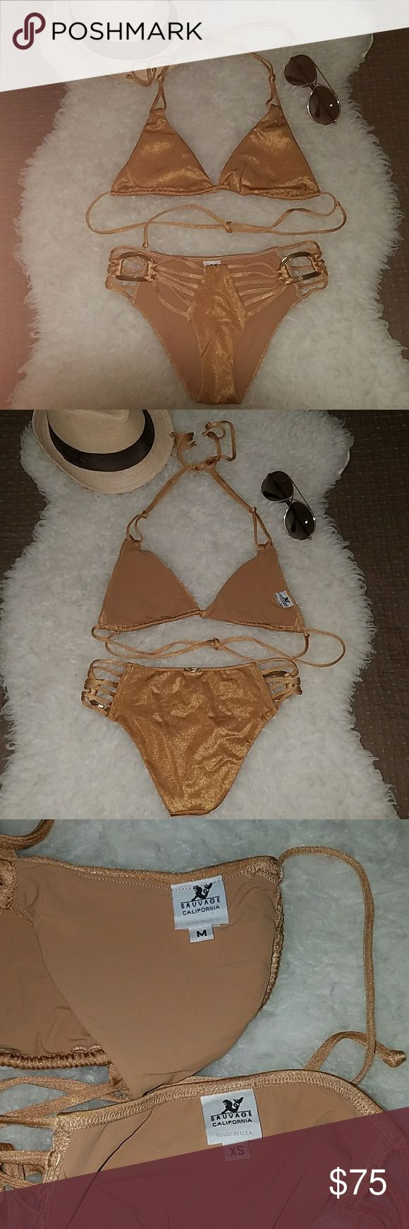 Sauvage California Gold Bikini Sauvage California Gold Bikini Exquisite style with lots of details  Bottom: XS Top: Medium  Sexy AF! Sold as set only Worn only 2 times, like new condition Sauvage California Swim Bikinis