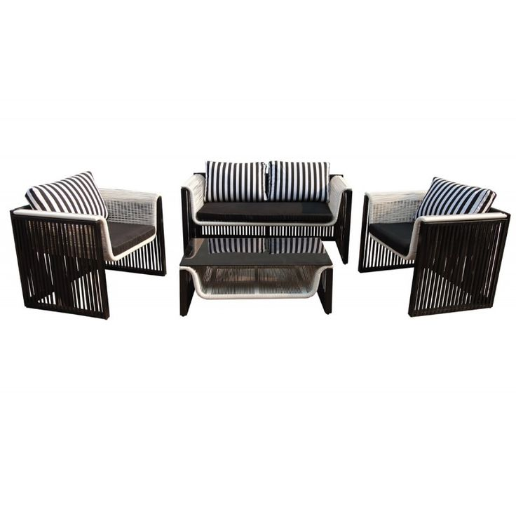Coral 4pieces garden seating group aluminum wicker white-black