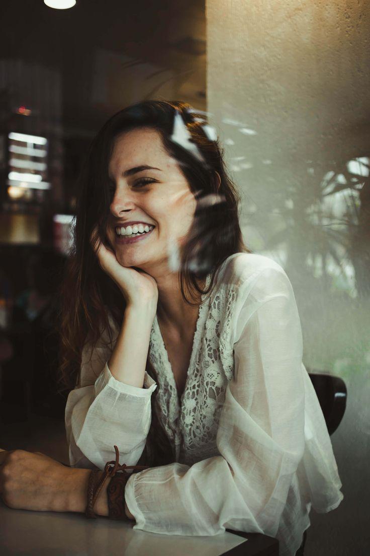 brunette | laughs | cafe | windows | candid | love | photos