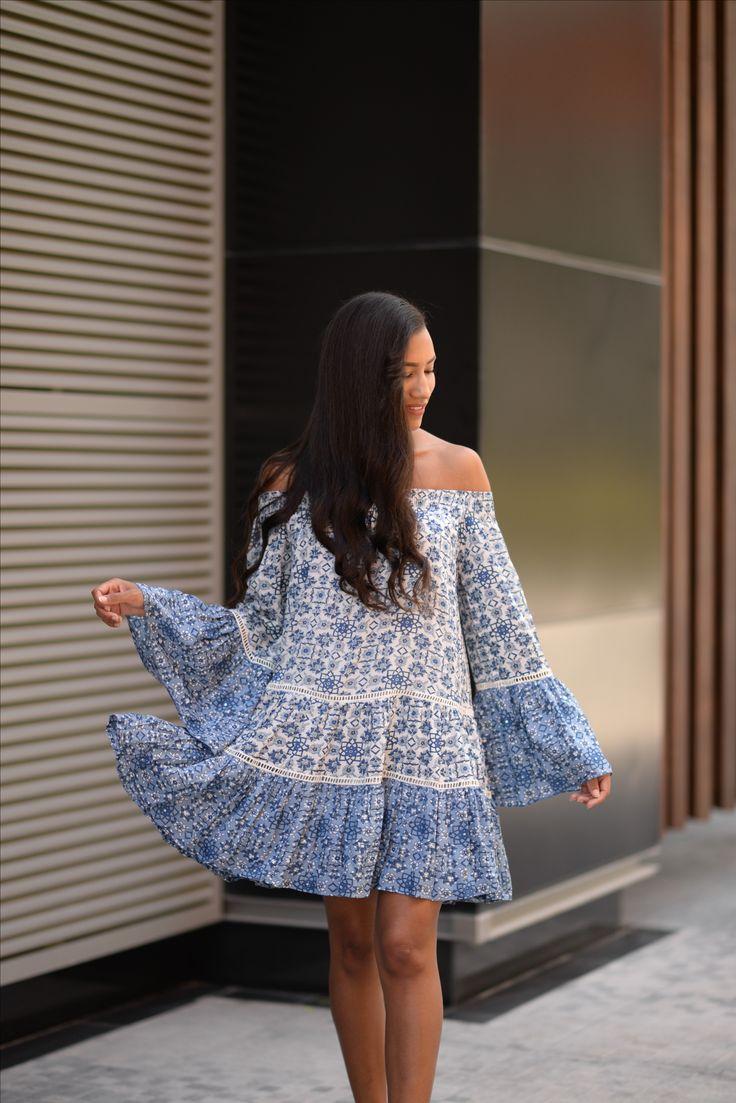 Bohemian chic blue dress. Summer vibes