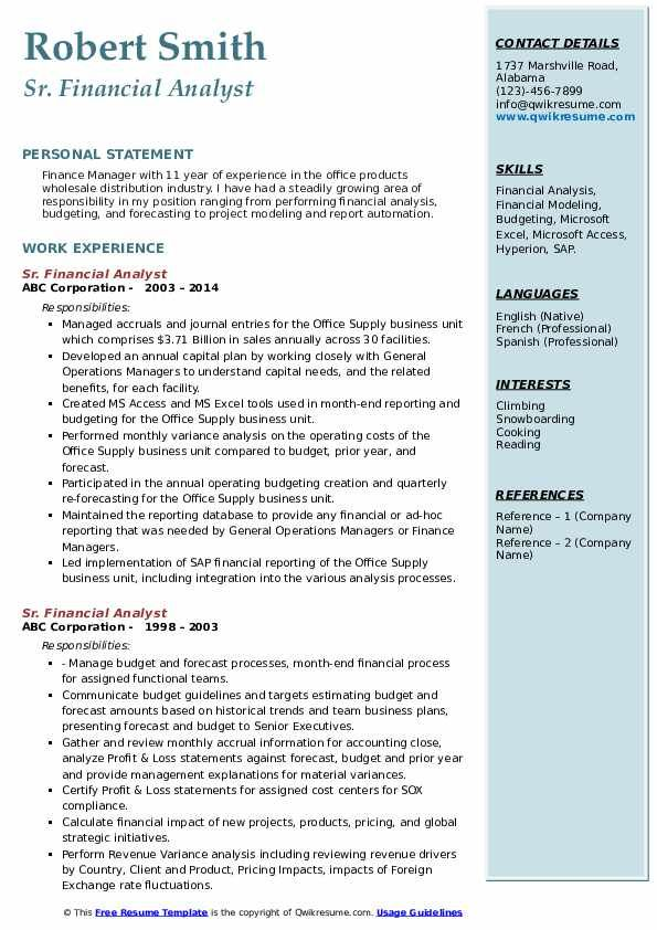 Sr Financial Analyst Resume Samples Financial Analyst Financial Analysis Analyst