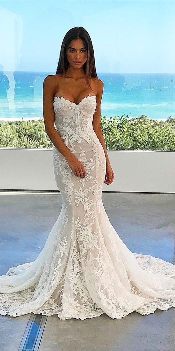 mermaid sweetheart lace bridal dresses for destination wedding