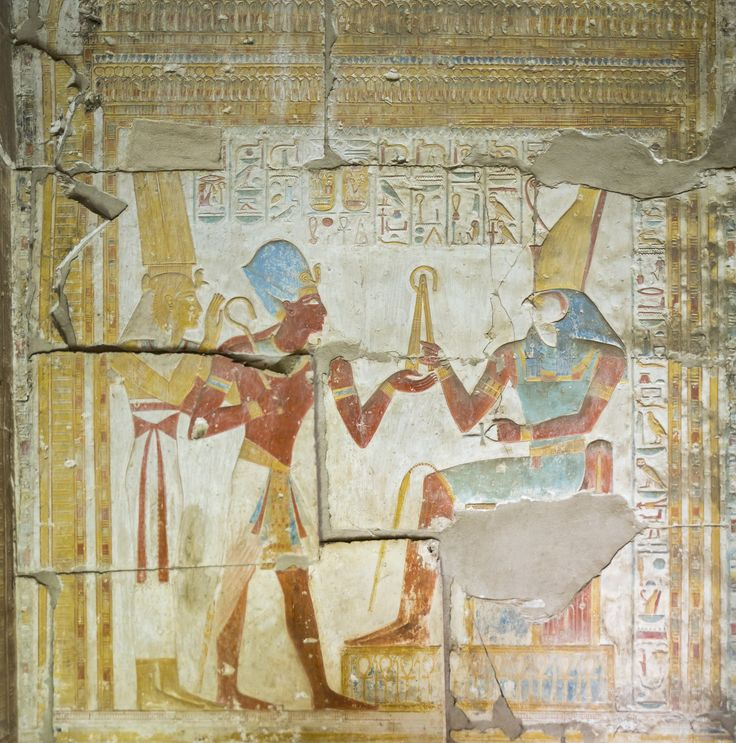 https://flic.kr/p/necAF7 | Temple of Seti I Abydos | Chapel of Horus dedicated to Osiris Isis introduces Seti to her son Horus. The King raises his hand to receive from Horus the royal emblems of the crook and flail.