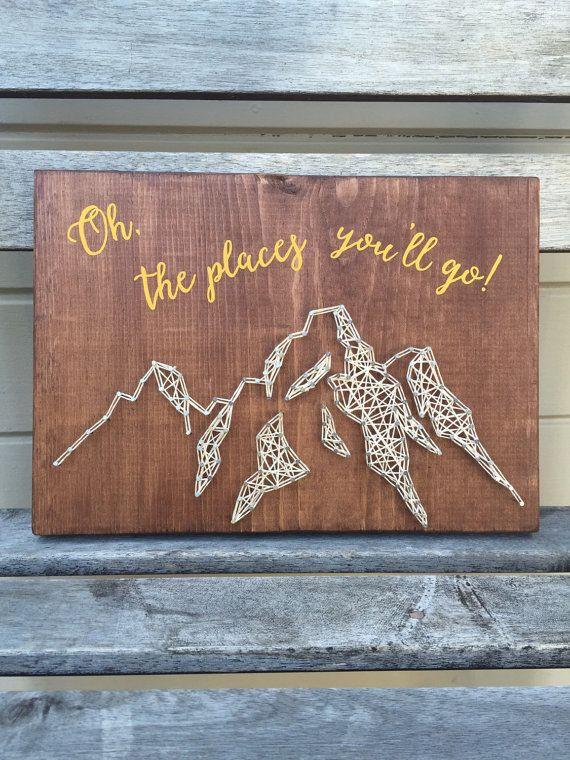 Wood wall sign mountains string art by FindingOurLittleWans