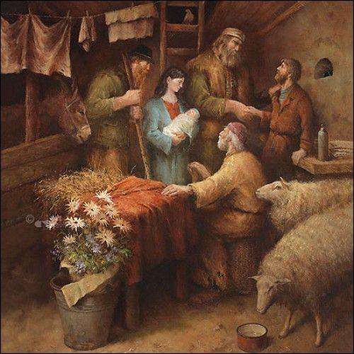 Het bezoek van de herders. Door Marius van Dokkem.